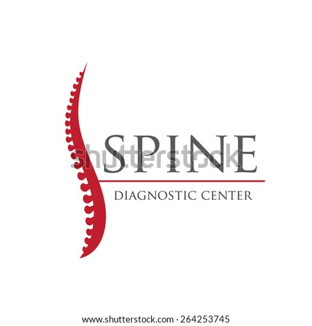 Spine diagnostic center. Vector red logo - stock vector