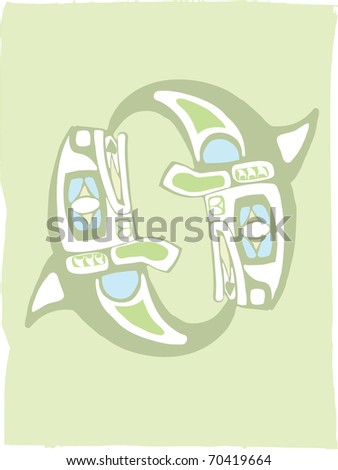 Spinning OrcaTwo Spinning Whales in the style of Northwest Coast Native imagery. - stock vector