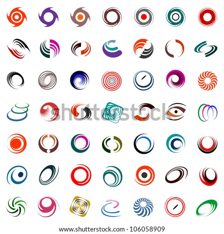 Spiral and rotation design elements. Abstract icons set. Vector art. - stock vector