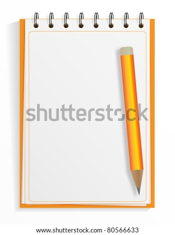 Spiral blank notebook and pencil - stock vector