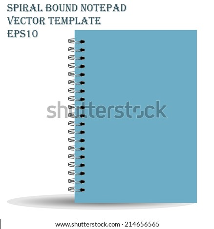 Spiral bound notepad. Vector template. Easy to place your image on the cover. - stock vector