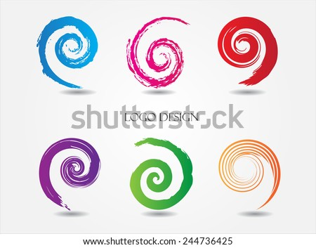 Spiral brush strokes. Vector logo design. Grunge elements.