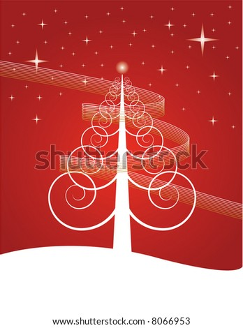 Spiral Christmas Tree - stock vector