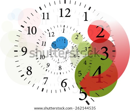 spiral clock time change  - stock vector