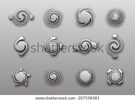 Spiral elements with shadow - stock vector