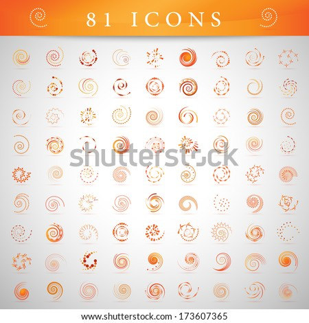 Spiral Icons Set - Isolated On Gray Background - Vector Illustration, Graphic Design Editable For Your Design. - stock vector