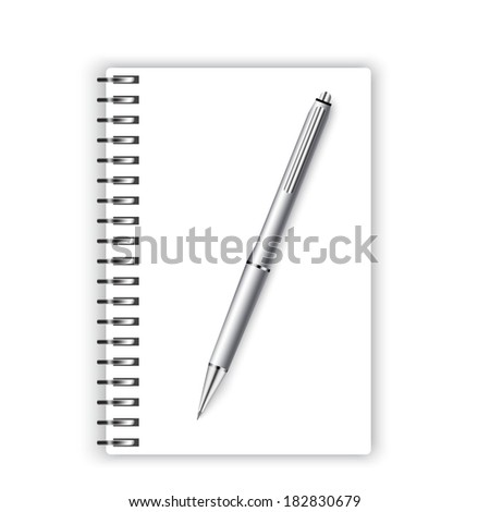 spiral notebook and silver ballpoint Pen, 3d  - stock vector
