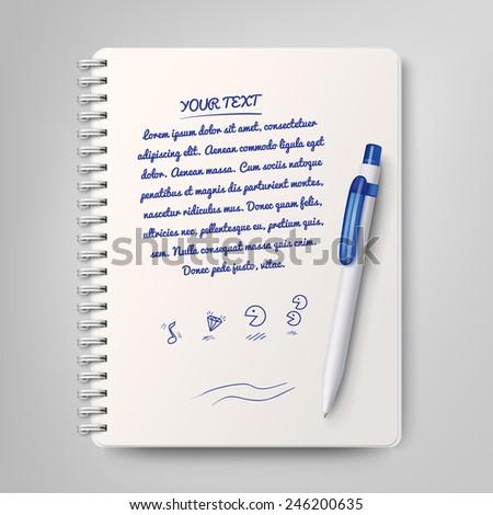 Spiral notebook and white ballpoint pen - stock vector