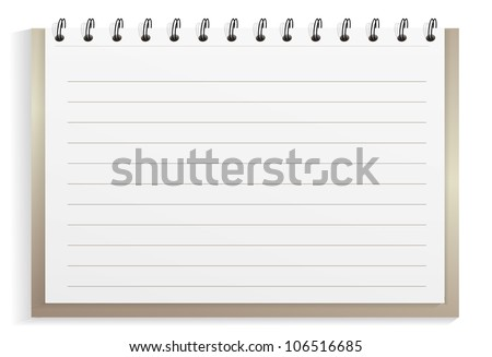 Spiral notebook with lined sheets - stock vector