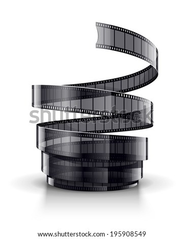 Spiral of cinematography film tape. Eps10 vector illustration. Isolated on white background - stock vector
