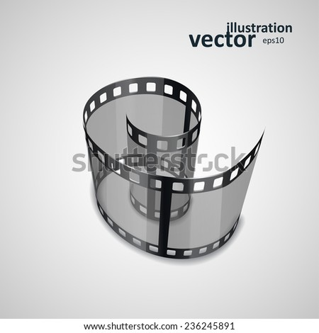 Spiral of film strip. Graphic concept for your design. vector illustration eps10 - stock vector