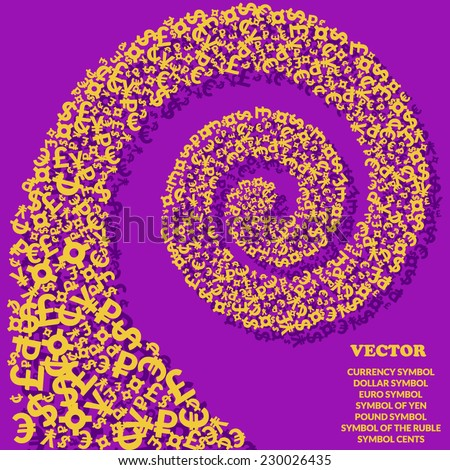 Spiral of golden icons of various currencies on purple background. Concept for your design. Vector illustration. - stock vector