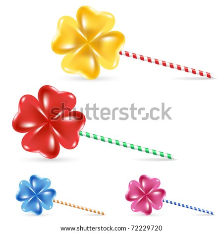 Spiral rainbow lollipop set - isolated on white background - stock vector