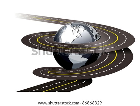 Spiral road concept illustration on white background - stock vector