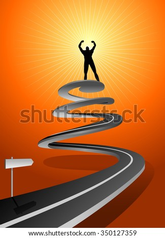 Spiral Road of Success-Conceptual illustration of path to successful man - stock vector