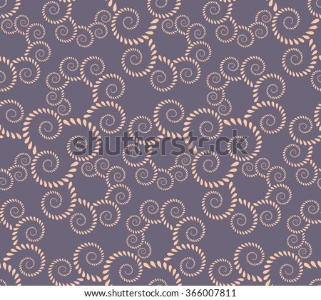 Spiral seamless lace pattern. Vintage texture. Abstract twirl figures of laurel leaves texture. Rose, lilac contrast colored background. Vector  - stock vector