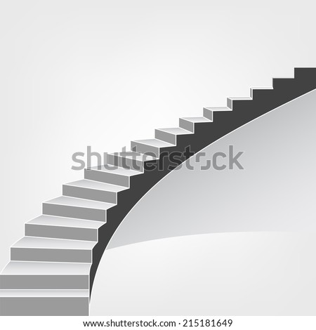 spiral staircase way up vector background illustration - stock vector