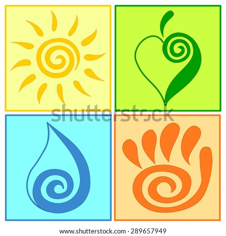Spiral symbols set vector illustration Green energy icons Ecology icons Nature care Sun symbol, sun rays vector, Green leaf symbol, Water drop icon, Water symbol, Open hand symbol, Friendship concept - stock vector