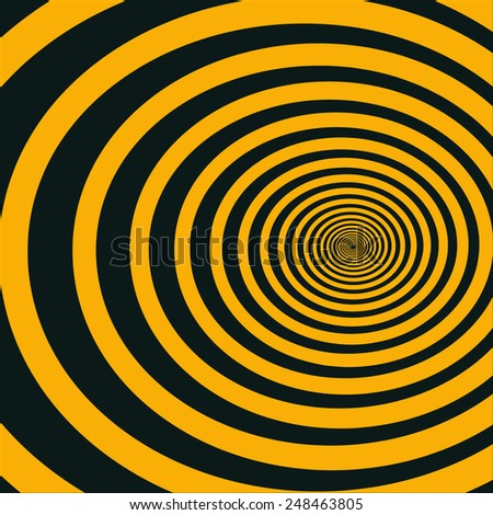 Spiral tunnel with a large number of turns goes aside. Uniform reduction of the intervals. Vector background for creative images. - stock vector