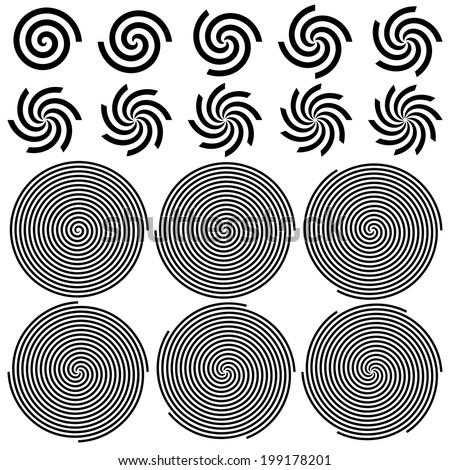 Spirals Pattern Set. Vector Illustration  - stock vector