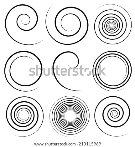 Spirals with stroke profile - stock vector