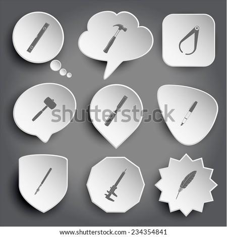 spirit level, hammer, caliper, mallet, chisel, ink pen, ruling pen, feather. White vector buttons on gray. - stock vector