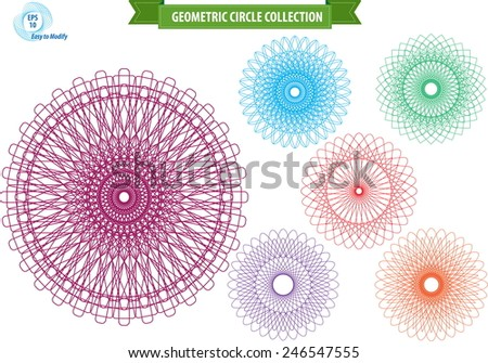 spirograph or round ornament or geometric circle isolated. editable and easy to modify for money design, voucher, currency, gift certificate, coupon, banknote, diploma, check, note. - stock vector