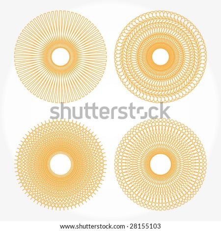 Spirograph vector orange pattern - stock vector