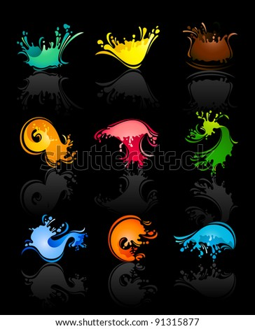 Splash colors Waves and Water with reflection on black background - stock vector