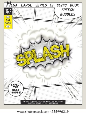 Splash. Explosion in comic style with lettering and realistic puffs smoke. 3D vector pop art speech bubble - stock vector