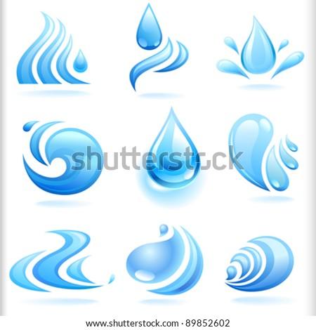 Splash of Fresh Blue Water Drops - stock vector