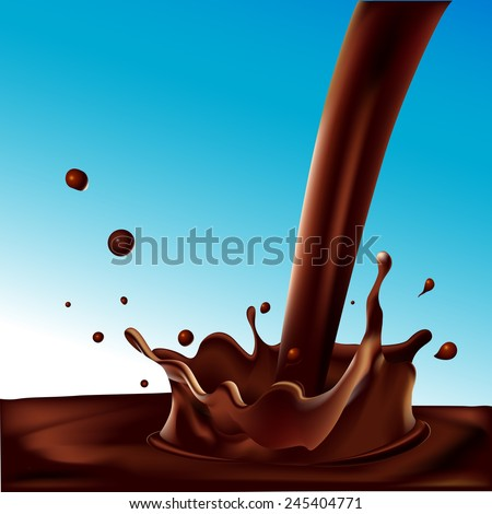 splash of hot coffee or chocolate  on blue background - vector illustration - stock vector