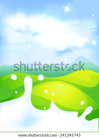 splash of milk - vector illustration with green field and natural background - stock vector