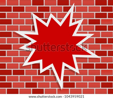 splash star on brick wall - abstract concept background