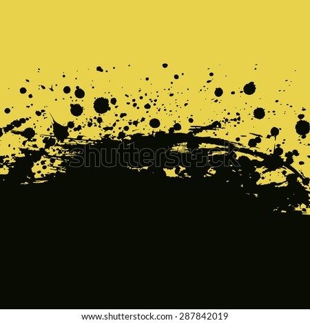 Splashes and drops background. Yellow and black banner vector illustration - stock vector