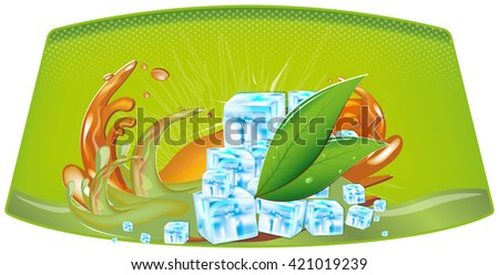 splashes of juice and ice cubes - stock vector