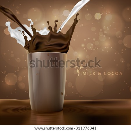 splashes of milk with cocoa and chocolate background with coffee cup - stock vector
