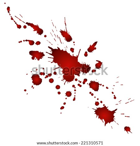 Splashes of red watercolor paint on white paper. Vector illustration - stock vector