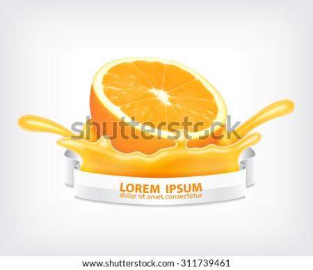Splashing juice with orange. Design for juice and etc. EPS10 vector - stock vector