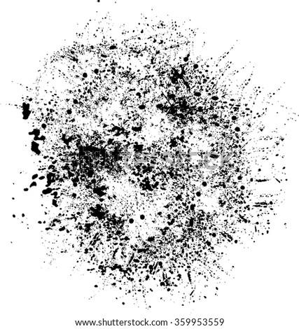 Splats Background . Black Ink Splats . Spray Paint Splatters . Vector Paint Splats . Blots and Splashes . Grunge Ink Splats . Distress Vector Splats for Grunge Effects . Ink Splats for Design Use . - stock vector