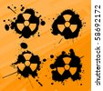 Splats with nuclear warning signs, design elements - stock photo