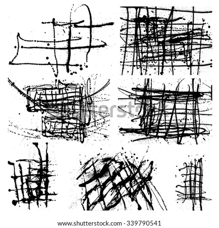 Splatter Black Ink Background set. 7 in 1. Hand Drawn Spray Blots and Splashes Paint Vector Illustration. Grunge ink stains template for design of logotypes, banners and posters. - stock vector