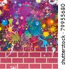 Splatter colors on brick wall. - stock vector