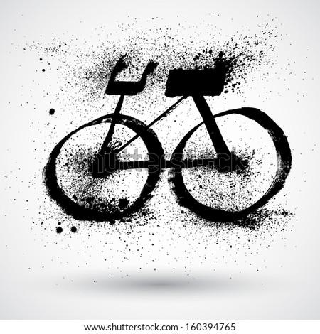 Splatter Fast Bicycle - stock vector