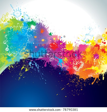 Splatter paints of wave shape. - stock vector
