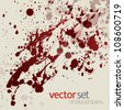 Splattered blood stains, set 14 - stock vector