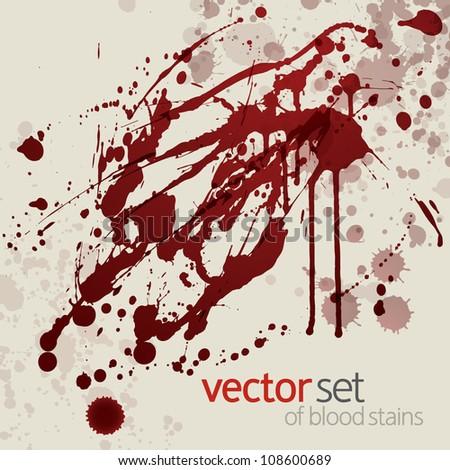 Splattered blood stains, set 16 - stock vector