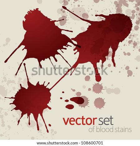 Splattered blood stains, set 1 - stock vector