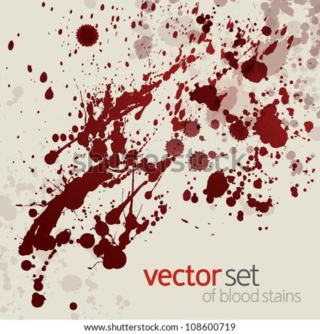 Splattered blood stains, set 14 - stock vector