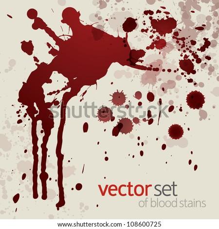 Splattered blood stains, set 13 - stock vector